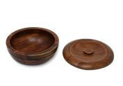 Wood Shaving Bowl with Lid   Stores Men's Shave Soap   Fits Most Wet Shaving Brands
