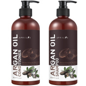 Aprilis Moroccan Argan Oil Shampoo and Conditioner Set, Vitamin Enriched & Volumizing Treatment for Hair Loss, Damage, Thinning and Regrowth for Men & Women, 500ml Each