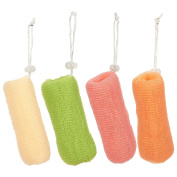 4 Pack Mesh Soap Saver Bags - Exfoliating Soap Pouch Body Loofah Set - For Bath & Shower Use, 4 Assorted Colours, 16cm x 5.1cm