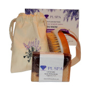 Dry Skin Body Brush PL Spa Gift Bundle, Boar Bristle for Health & Beauty Removes Dead Skin & Toxins, Exfoliates, Stimulates Blood Circulation with Lavender Goats Milk 150ml Soap Bar