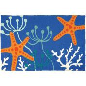 Jellybean Starfish Royal Blue Coastal Indoor/Outdoor Machine Washable 50cm x 80cm Accent Rug