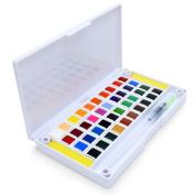 40 Watercolour Paint Set Portable Travel Water Colours Set Includes Water Brushes Sponges Mixing Palette