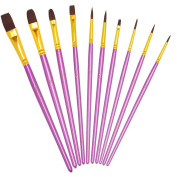YXQSED-Painting Brushes 10pcs Paint Brush Set Round Pointed Tip Nylon Hair Artist Acrylic Brush for Watercolour /Oil /Crafts /Rock /Face Painting and Gouache-Purple