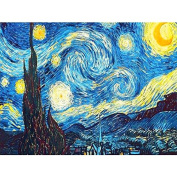Faraway 5D DIY Crystal Full Diamond Painting Van Gogh The Starry Night Round Drill Rhinestone Painting Embroidery for Wall Decoration 30cm X 41cm