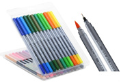 24 Dual Tip Brush Pens Colour Fineliner Pens For Drawing Colouring Books Sketching and Illustration