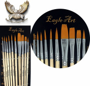Eagle Art Artist Pointed-Round Paintbrush Set | 10 Pieces Round Pointed Tip | Artist Detail Paint Brushes Set for Fine Detail & Art Painting, Acrylic Watercolour Oil, Nail Art, Miniature, Face Painting