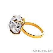 Herkimer Diamond Ring, Diamond Ring, Gold Ring, Adjustable Band Ring, Prong Setting, Claw Ring, GemMartUSA
