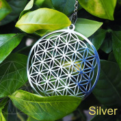 Flower of Life Pendant Sacred Geometry Silver Chain Necklace Tassel Earrings u Silver