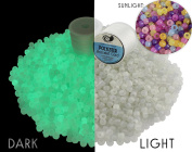 UV Glow-in-the-Dark Beads w/ Jewellery String (550 Beads + 2 Spools String); Ultraviolet & Sunlight-Charged Round Beads
