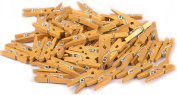 100-Pack of 1.0 Inch (25mm) Mini Clothespins Gold. Mini Natural Wooden Gold Painted Clothespins for Home School Arts Crafts Decor DIY Screen, Tiny Clothespins Photo Paper Peg Pin Craft Clips