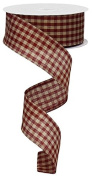 Primitive Gingham Cheque Wired Edge Ribbon, 10 Yards