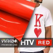 VVIVID+ Red Premium Line Heat Transfer Vinyl Film for Cricut, Silhouette & Cameo (30cm x 90cm