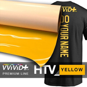 VVIVID+ Yellow Premium Line Heat Transfer Film 30cm x 90cm (0.9m) for Cricut, Silhouette & Cameo