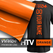VVIVID+ Orange Premium Line Heat Transfer Film 30cm x 90cm (0.9m) for Cricut, Silhouette & Cameo