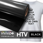 VVIVID+ Black Premium Line Heat Transfer Film 30cm x 90cm (0.9m) for Cricut, Silhouette & Cameo