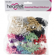 "Heartfelt Creations Assorted Pearl Stamens Medium 5mmX2.25"" 10/Pkg, HCS14592"