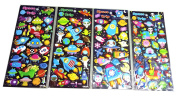 SET072-UFO - 4 Different Sheets Spacecraft and Galaxy Reusable Puffy Decorative Craft Scrapbooking Sticker Set