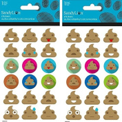 Emoji Poop Bubble Stickers ~ Two Packs ~ 36 Dimensional Stickers