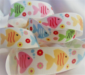 Striped RibbonSummer Fish Print- 2.2cm Wide, 10 Yards - For Summer Hair Bows & Beach Crafts!