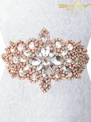Wedding sash Rose Gold bridal sash Rhinestone Rhinestone Applique for Wedding dress~RA004