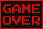 80s Video Game Nostalgia Game Over Iron On Patch Applique - Red, Black - 7.6cm x 5.1cm Rectangle - MADE IN THE USA - .