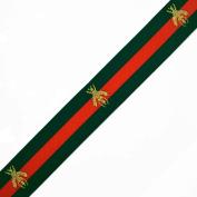 "1-3/8"" (35mm) Bee Elastic Stretch Ribbon Trim, Stretch Elastic Band, headband, hand band and waist belt by 1 yard, Green/Red, TR-11372"