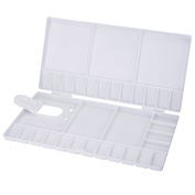ROSENICE Plastic Watercolour Palette Folding Painting Pallet Tray with 33 Compartments, Thumbhole and Brush Holders for Painters Students or Art Studio