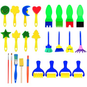 25 Pieces Sponge Painting Brushes Set Kids Early Learning Drawing Tools for DIY Arts Crafts, Assorted Colours and Shapes