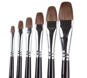 ARTIST PAINT BRUSHES - Professional 6PCS Red Sable Weasel Hair Filbert Paint Brush Set For Acrylic, Oil, Gouache and Watercolour Painting Supplices Crafts.