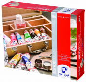 Van Gogh Acrylic Paints Base Paintbox - incl. Acrylic Paints, Brush, Paint Medium, Mixing Palette, etc. in Wooden Case