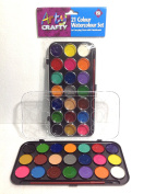 Arty Crafty 21 x Colour Watercolour Pan Set Paint Craft Art - With 1 Paint Brush