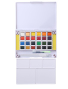 MEEDEN Travel Watercolour Paints Set, 24 Colours Pocket Field Sketch Case with Mixing Palette, Water Brush Pen and 2 Sponges Perfect for Painting on the Go