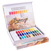 Bianyo Artist Watercolour Paint Set - 30 Vibrant Colours Watercolour Painting Supplies for Kids, Adults, Painters, Artists - With 1 Paint Brush, 1 Water Brush Pen, 8 Pieces Watercolour Papers
