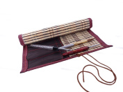 """Bamboo Calligraphy Brush Holder Rollup Protection 24*22.5cm (9.5*9"""") - Large"""