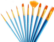 10pcs Artists Paint Brush Quality Value Set for Fine Art & Crafts Acrylic Oil Watercolour Painting Miniature Model Painting Nail Body Face Painting, Round Pointed Tip Nylon Hair Brush Set for Kids & Artists