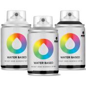 MTN Colours Water Based Spray Paint Mini Pack - 100ml - Grey, White & Black