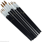 12 PIECE POINTED TIP ARTIST PAINT BRUSH SET PROFESSIONAL ART AND CRAFT S88