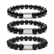 JOVIVI 10mm Lava Stone Essential Oil Diffuer Bracelet Tiger Eye Agate Healing Crystals Chakra Beads Stainless Steel Silver ID Bracelet