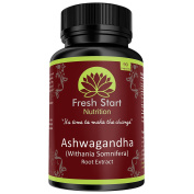 Fresh Start Nutrition Ashwagandha Root Extract, 90 Veggie Capsules, Certified Natural Herbal Supplement, Stress Relief - Anxiety - Reduce Fatigue, Withania Somnifera in Ayurveda Medicine, Easy to Swallow