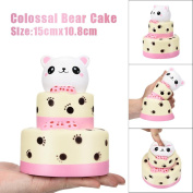 Slow Rising Stress Reliever Toys- MORWIND 15CM Colossal Bear Cake Squishy Slow Rising Cream Squeeze Scented Cure Toy Gifts