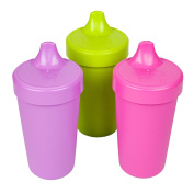 Re-Play Made in the USA 3pk No Spill Sippy Cups for Baby, Toddler, and Child Feeding - Purple, Green, Bright Pink