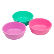 Re-Play Made in the USA 3pk Bowls for Easy Baby, Toddler, and Child Feeding - Purple, Aqua, Bright Pink