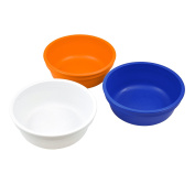 Re-Play Made in the USA 3pk Bowls for Easy Baby, Toddler, and Child Feeding - White, Orange, Navy Blue