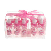 Homeford Plastic Milk Bottles Favour Container, Baby Girl, 10cm , 15-Count
