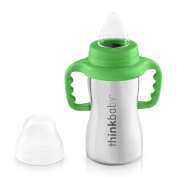 Thinkbaby Sippy of Ultra Polished Stainless Steel, Green