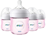 Philips Avent Natural Baby Bottle, Pink, 120ml, 4pk, SCF010/48