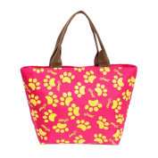 SUKEQ Paw Print Thermal Insulated Lunch Cooler Bag Tote Picnic Box Handbag Pouch