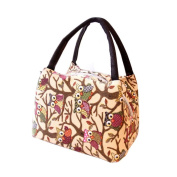 SUKEQ Owl Print Insulated Thermal Tote Cooler Bag Picnic Lunch Box Storage Handbag Pouch