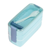 SUKEQ 900ml Portable 3 Layer Bento Oven Lunch Box Microwave Food Storage with Spoon