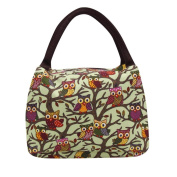 Owl Print Lunch Bag, SUKEQ Oxford Thermal Insulated Tote Cooler Box Handbag Pouch